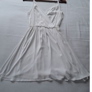 Lush white sheer flowy mini dress size XS
